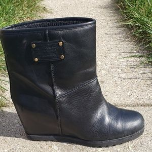 Marc by Marc Jacob Black Leather Wedge Boots